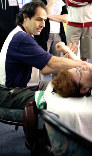 Jonathan Maister demonstrating the latest techniques in therapy.